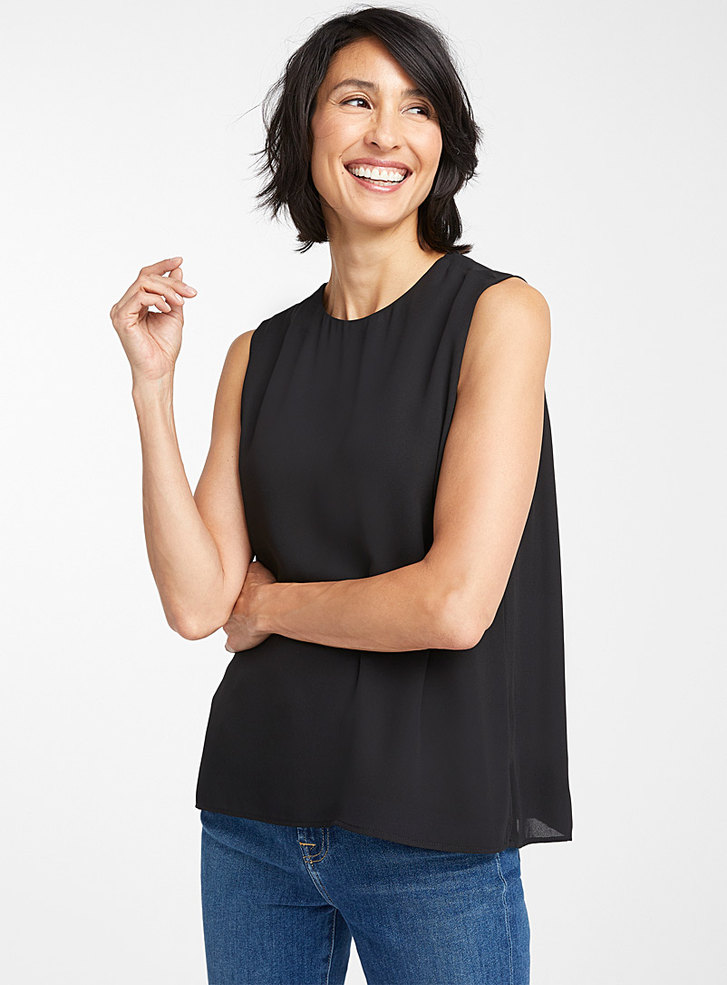 Contemporaine Black Recycled crepe crew-neck camisole for women
