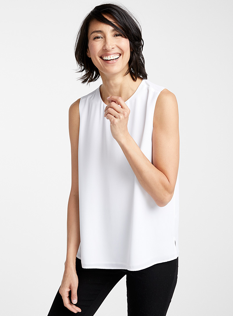 Recycled crepe crew-neck camisole - Blouses - White