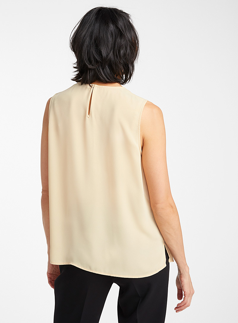 Recycled crepe crew-neck camisole - Blouses - Fawn
