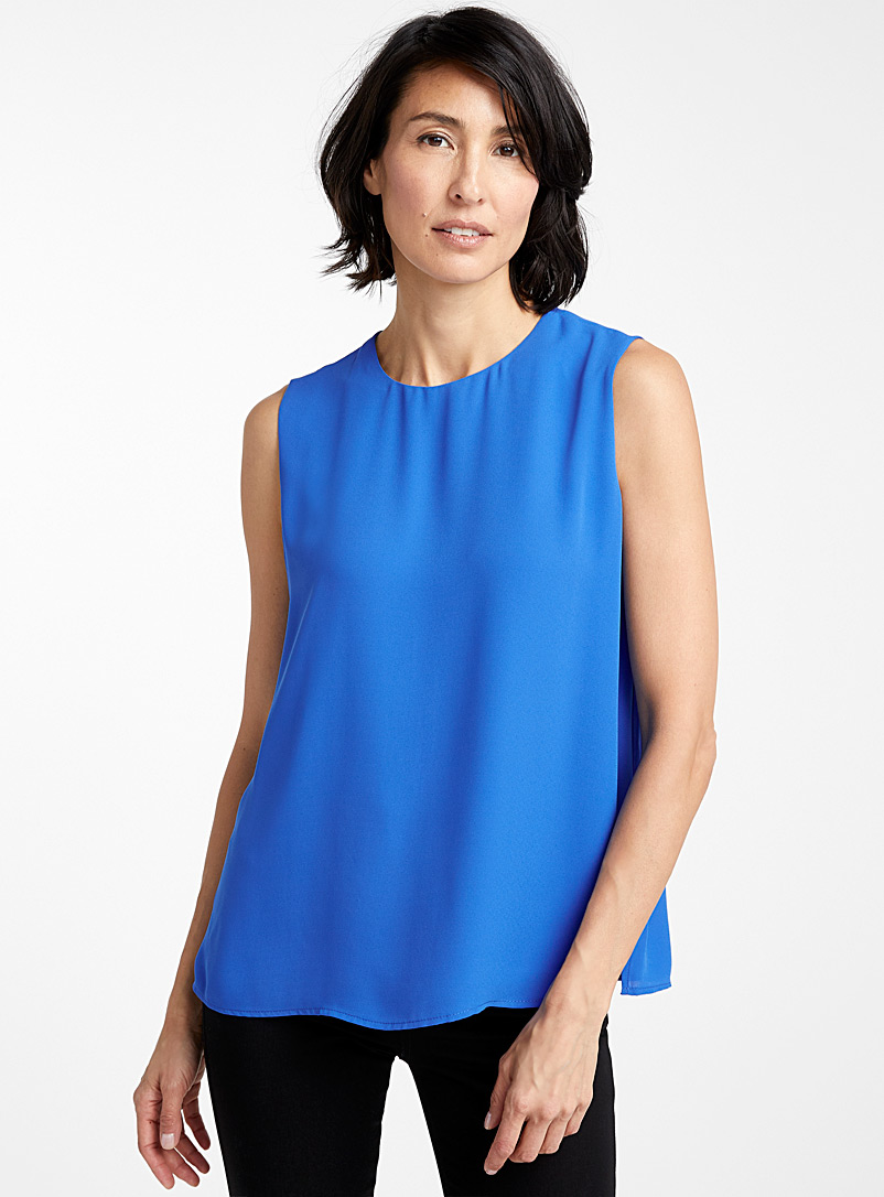 Recycled crepe crew-neck camisole - Blouses - Sapphire Blue