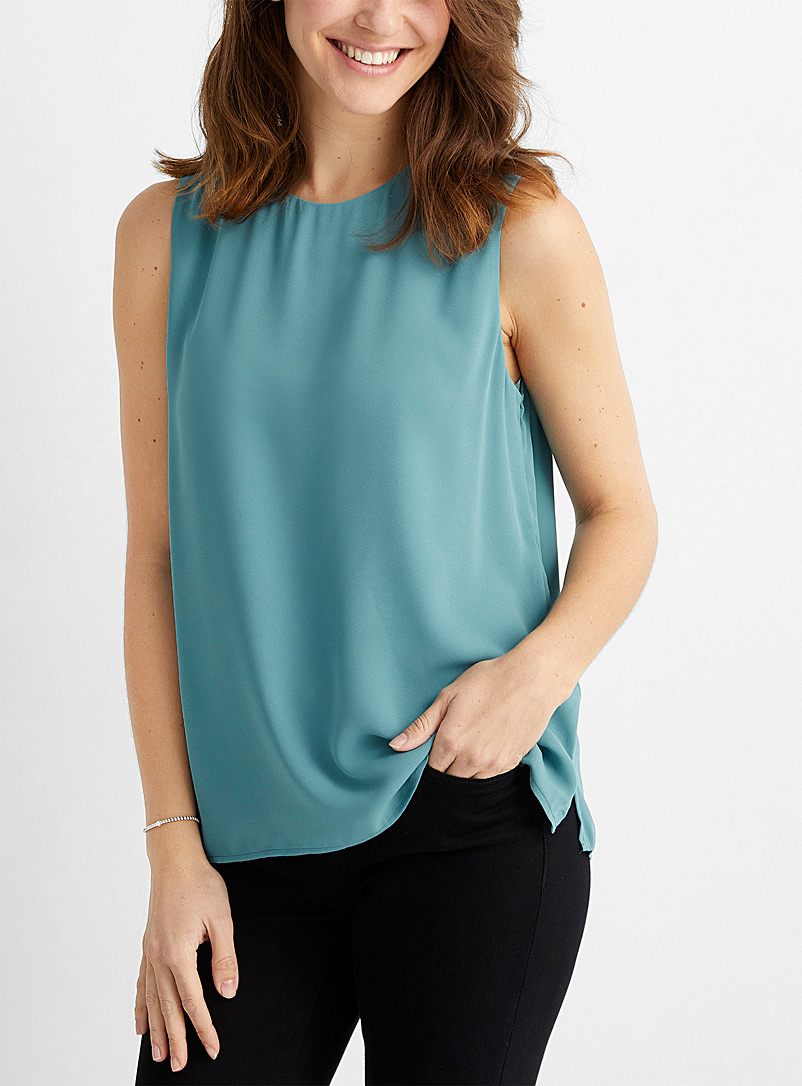 Contemporaine Teal Recycled crepe crew-neck camisole for women