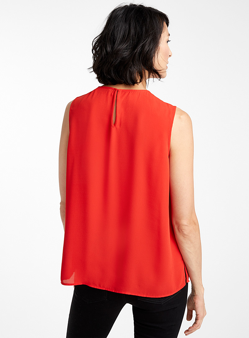 Recycled crepe crew-neck camisole - Blouses - Red