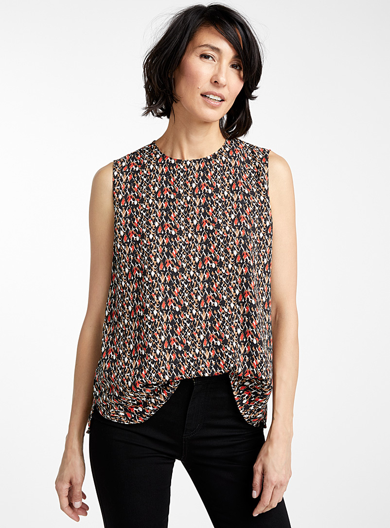 Contemporaine Patterned Black Patterned recycled crepe camisole for women