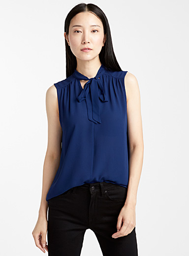 Contemporaine Marine Blue Recycled crepe tie-neck camisole for women