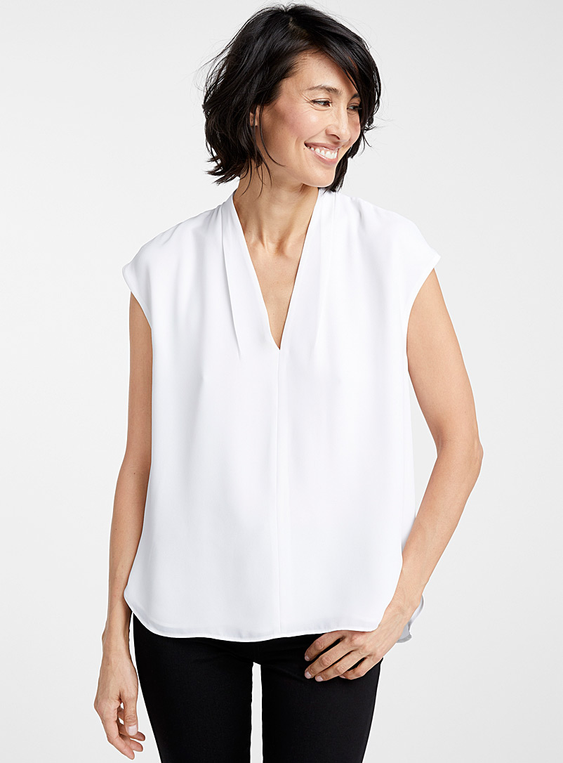 Contemporaine White Recycled crepe cap-sleeve blouse for women