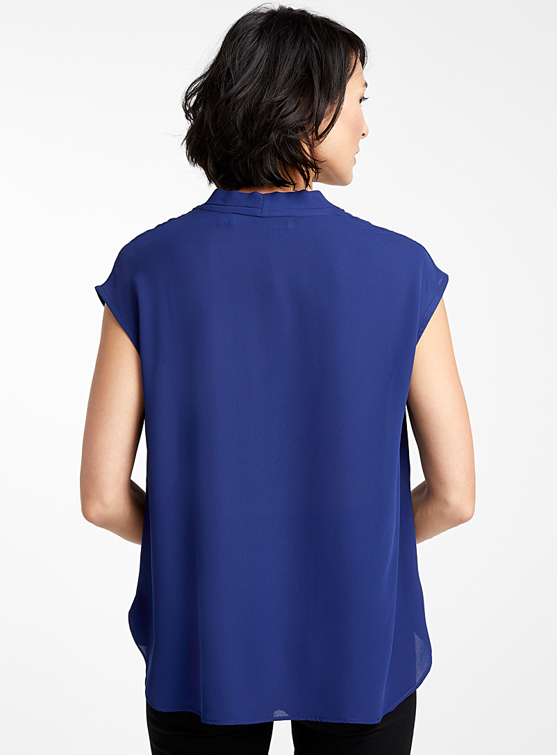 Contemporaine Marine Blue Recycled crepe cap-sleeve blouse for women