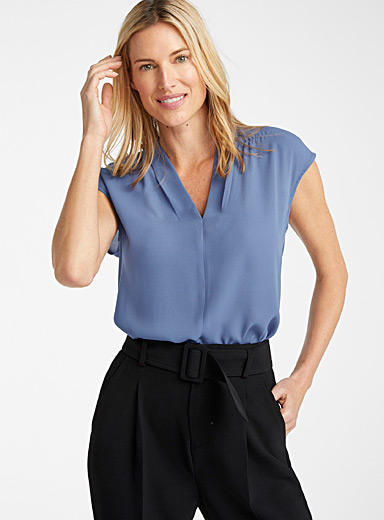 Contemporaine Slate Blue Recycled crepe cap-sleeve blouse for women