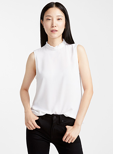 Contemporaine White Recycled crepe ruffle-neck camisole for women