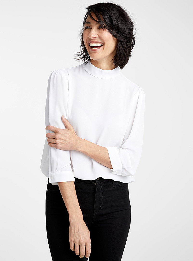 Recycled crepe mock-neck blouse - Blouses - White