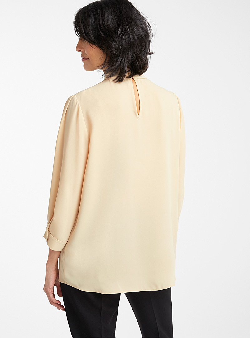 Recycled crepe mock-neck blouse - Blouses - Fawn