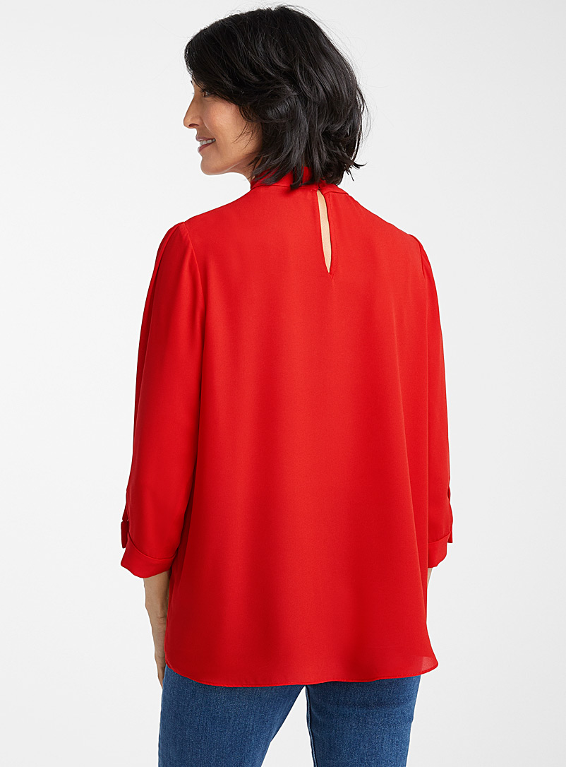 Recycled crepe mock-neck blouse - Blouses - Red