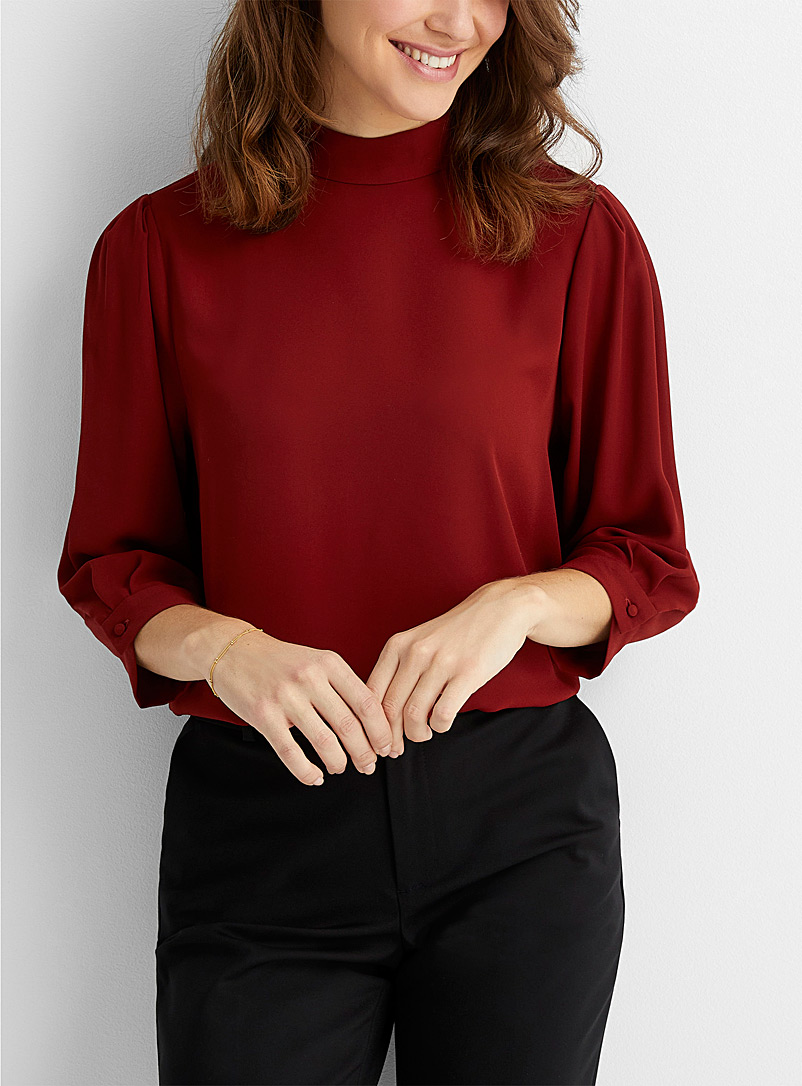 Contemporaine Ruby Red Recycled crepe mock-neck blouse for women