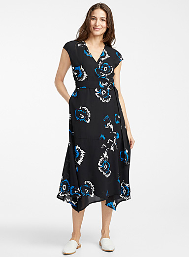 Recycled crepe midi wrap dress