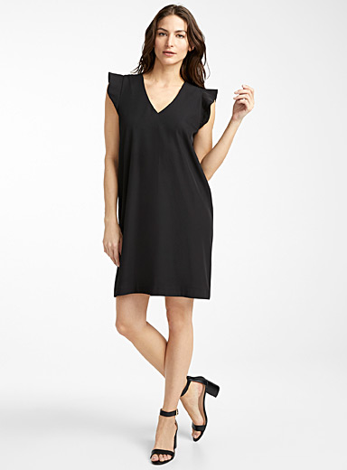 Contemporaine Black Ruffle-sleeve dress for women