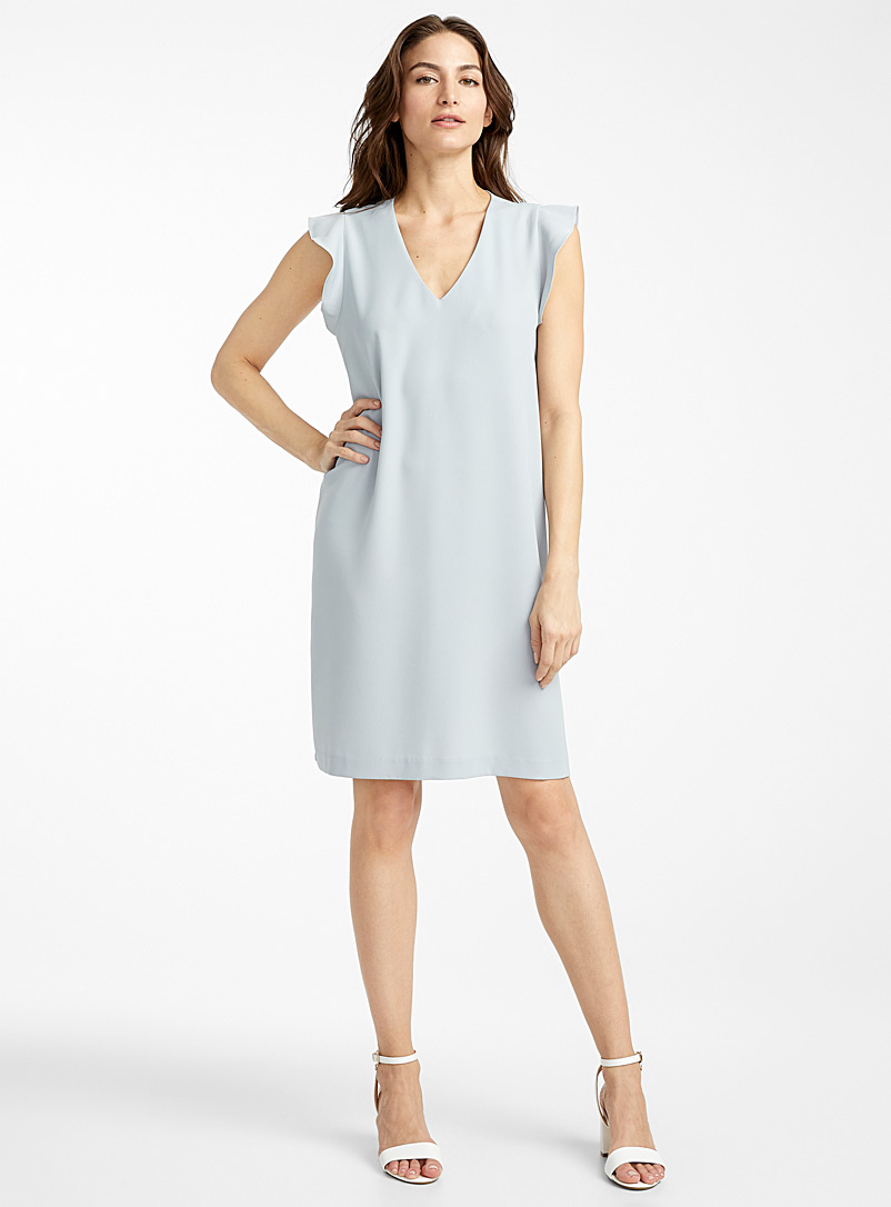 Contemporaine Baby Blue Ruffle-sleeve dress for women