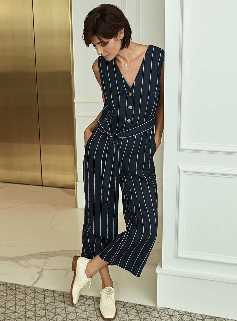 Contemporaine Patterned Blue Pure linen buttoned jumpsuit for women