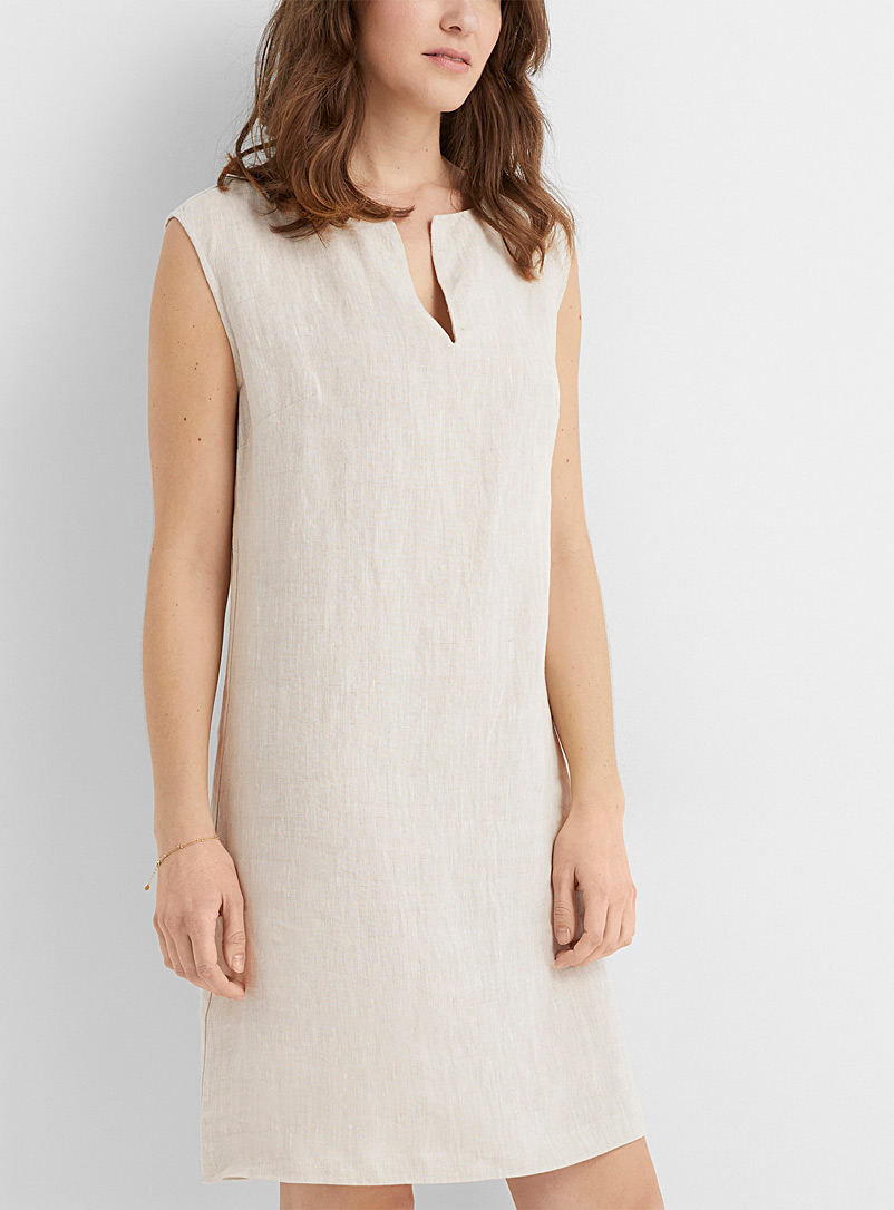 Contemporaine Ecru/Linen Minimalist pure linen dress for women
