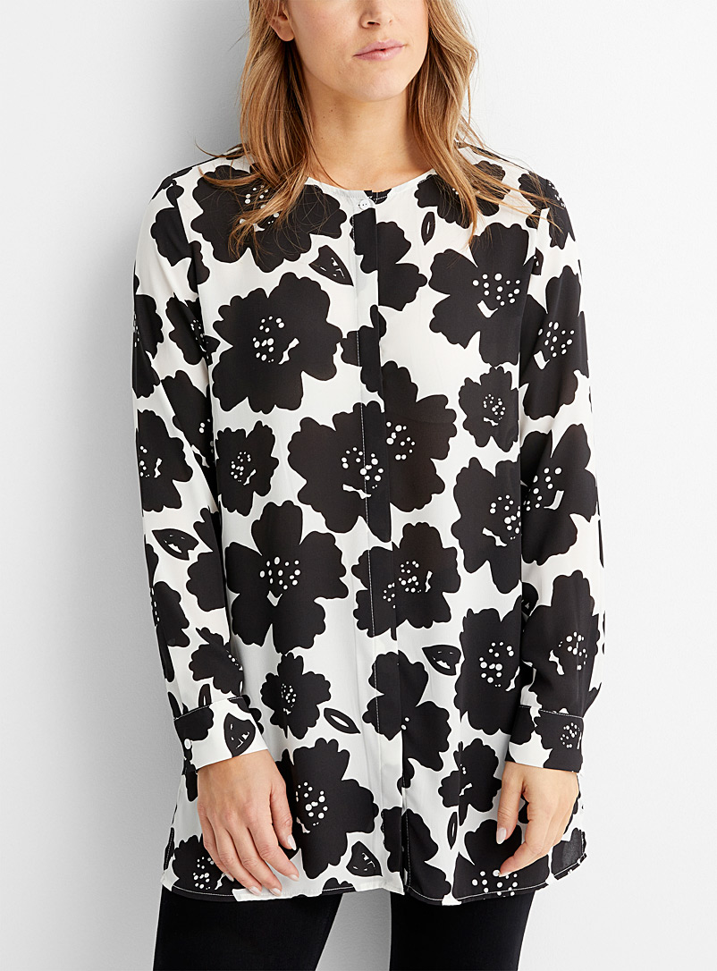 Contemporaine Black and White Printed chiffon tunic for women