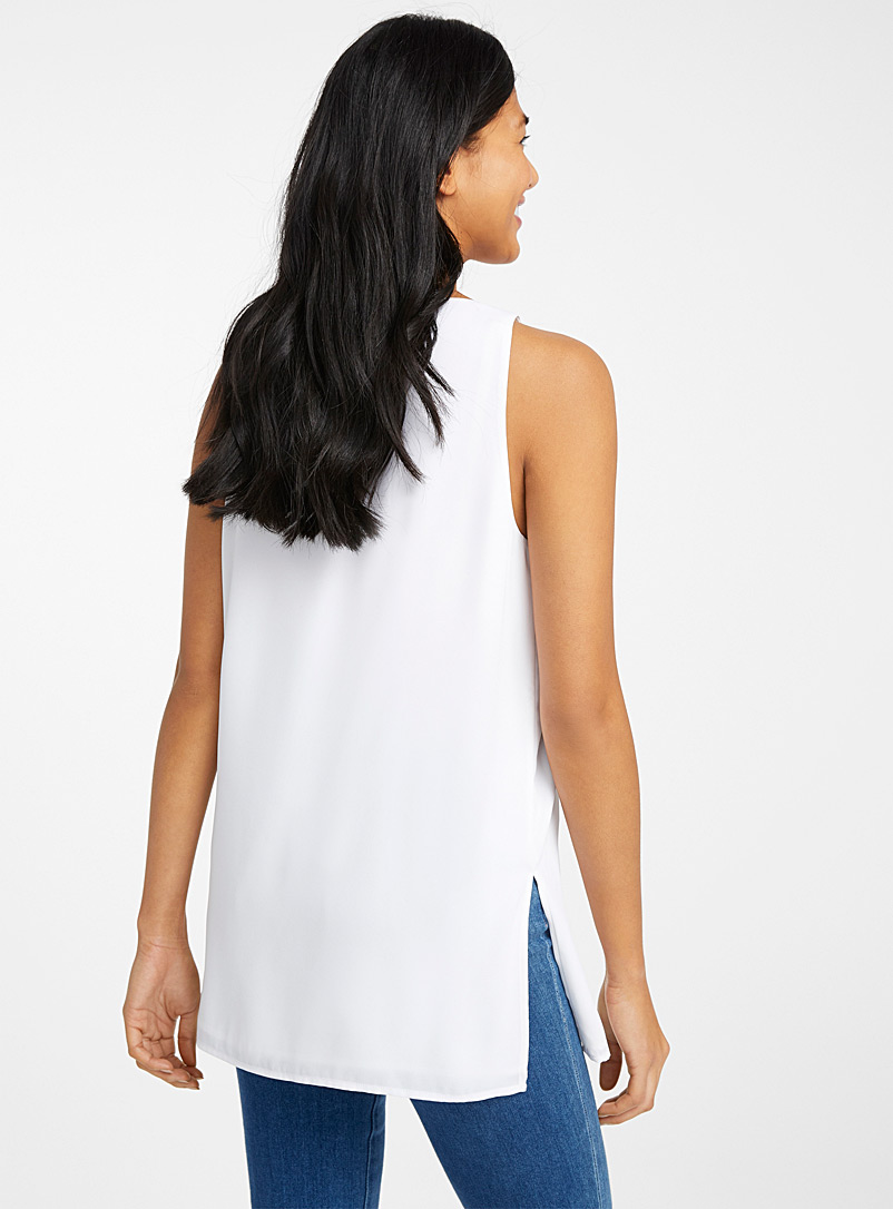 Contemporaine White Recycled crepe tunic camisole for women
