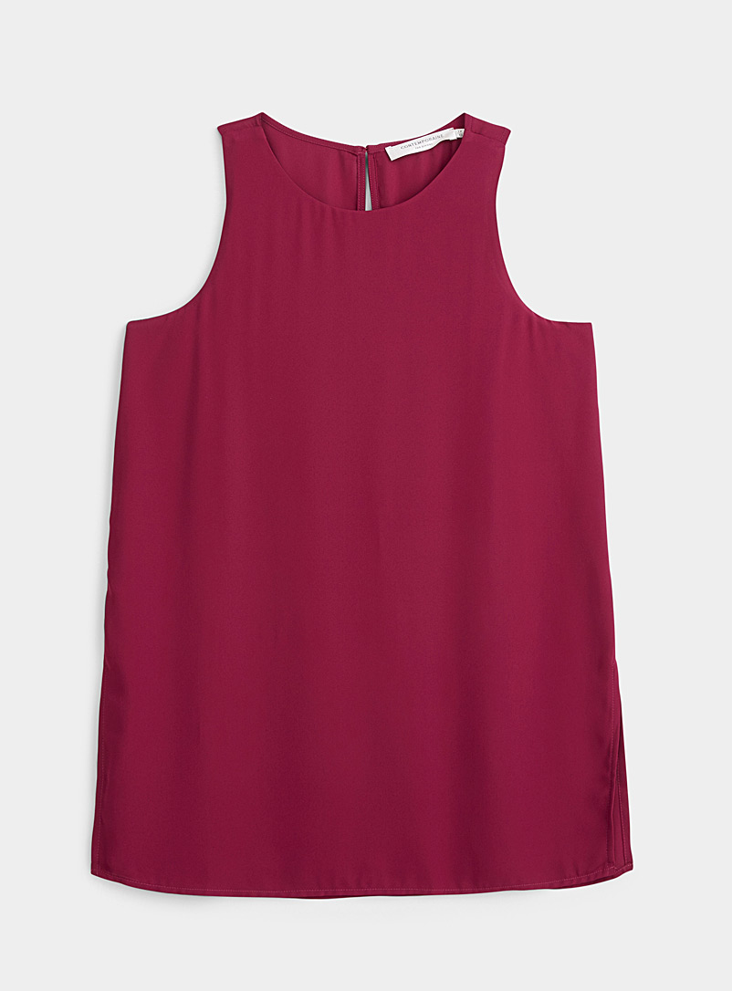 Contemporaine Cherry Red Recycled crepe tunic camisole for women