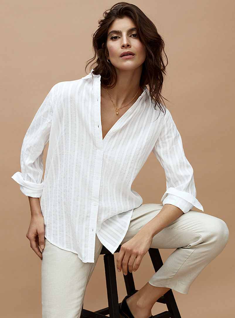 Contemporaine White Lightweight embossed-stripe shirt for women