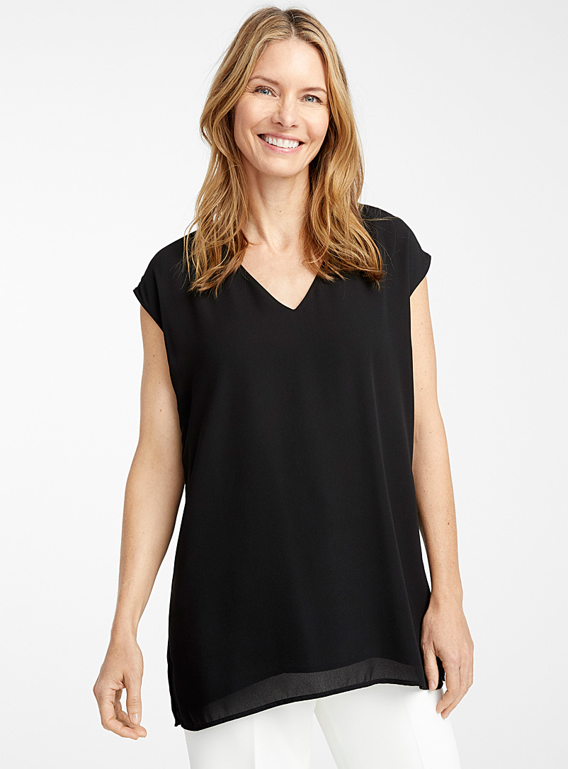 Contemporaine Black Recycled crepe V-neck blouse for women