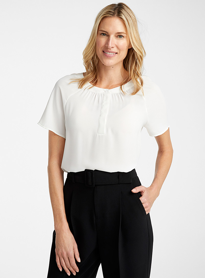 Contemporaine Ivory White Loose recycled crepe raglan blouse for women