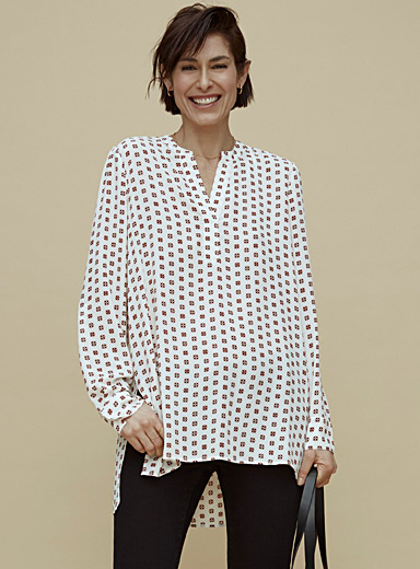 Printed recycled crepe tunic