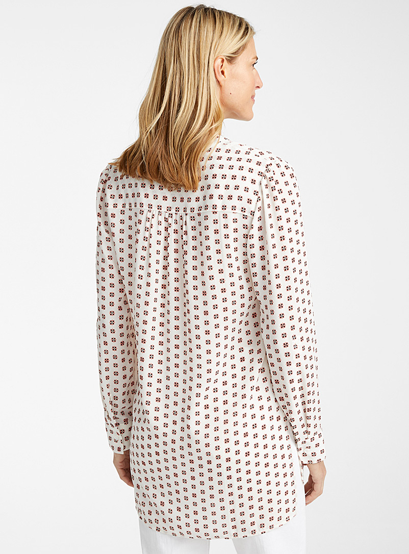 Contemporaine Patterned Ecru Printed recycled crepe tunic for women