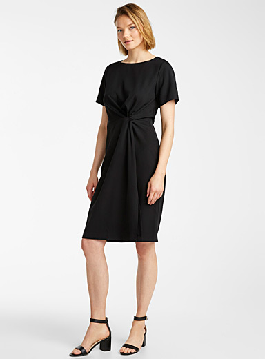 Contemporaine Black Draped knot dress for women