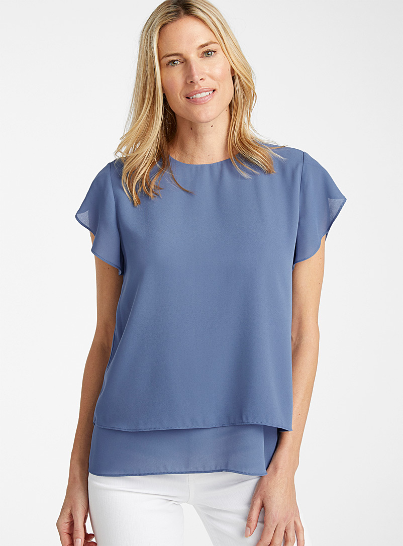 Recycled crepe tulip-sleeve blouse
