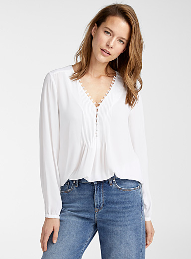 Contemporaine White Recycled crepe pleated-bib blouse for women