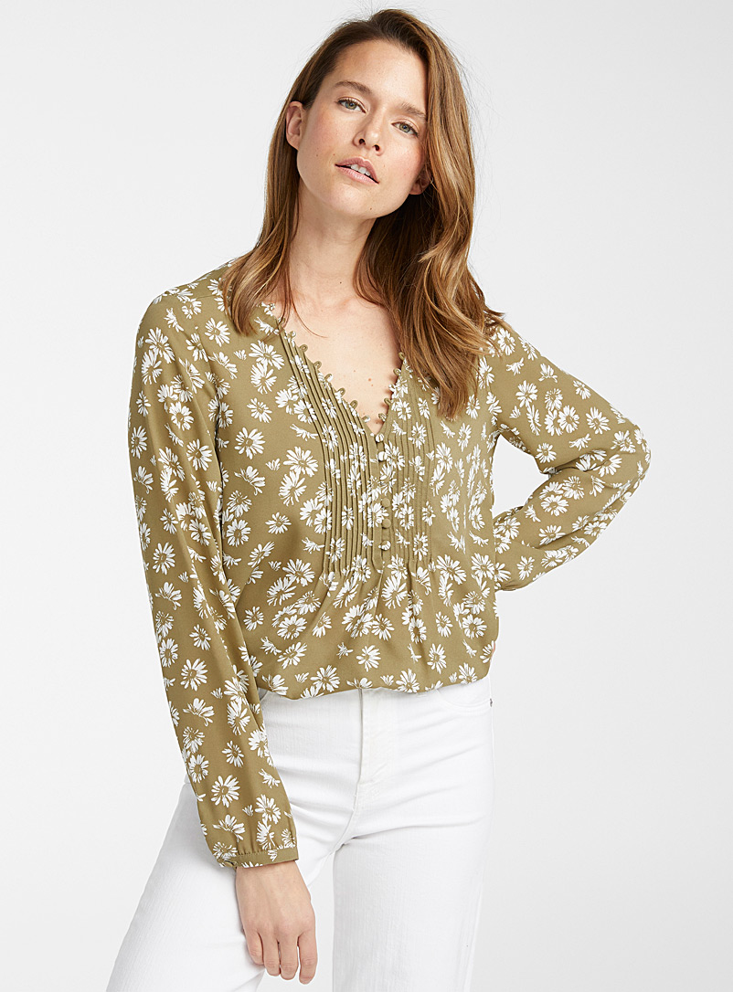 Contemporaine Patterned Green Recycled crepe pleated-bib blouse for women