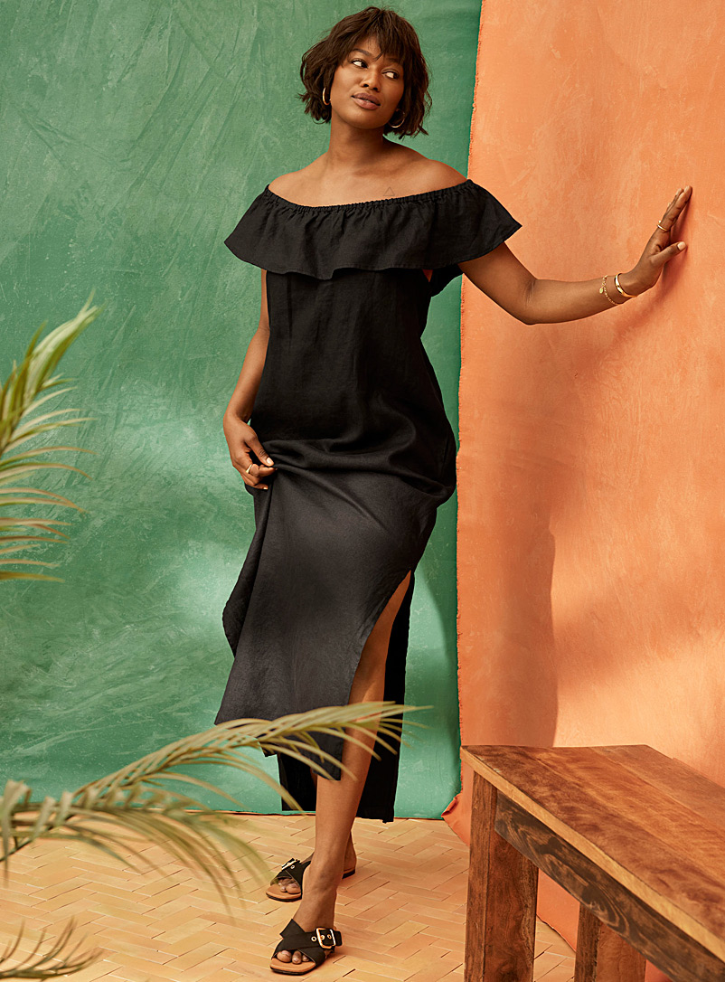 Contemporaine Black Ruffled linen off-the-shoulder dress for women