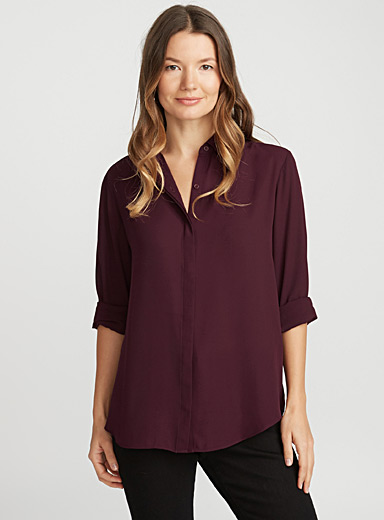 Fluid crepe loose blouse