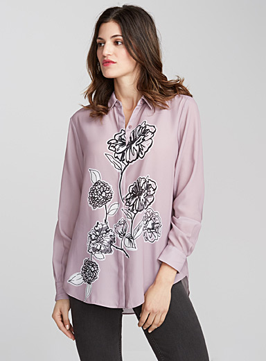 Enchanted print fluid blouse