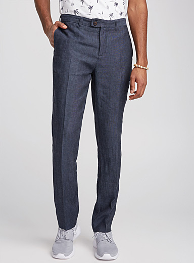 Le pantalon pur lin chambray <br>Coupe London - Étroite