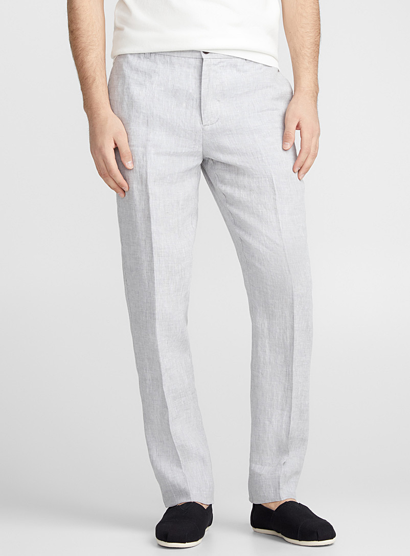 Chambray pure linen pant  London fit-Slim straight - Straight slim fit - Grey