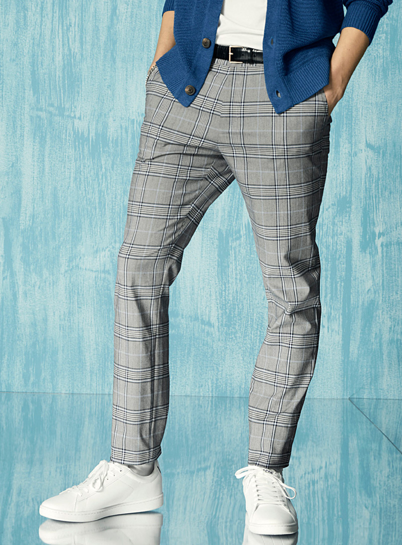 Blue-accent Prince of Wales pant Stockholm fit - Slim