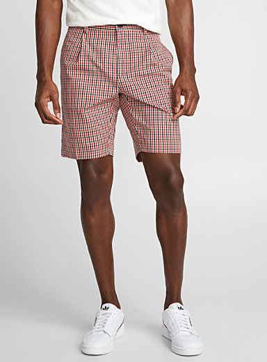 Flat-pleated plaid Bermudas