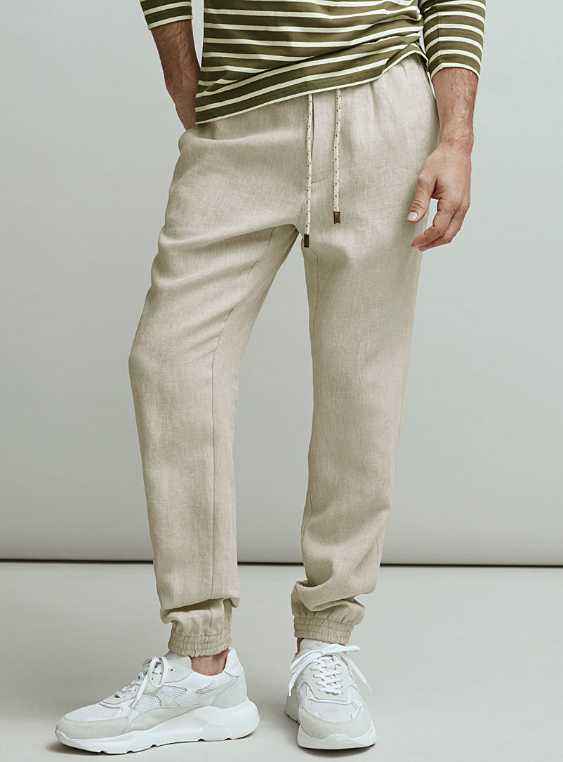 Le 31 Ecru/Linen Greige pure linen joggers for men