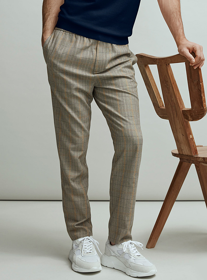 Le 31 Light Brown Comfort-waist check pant for men
