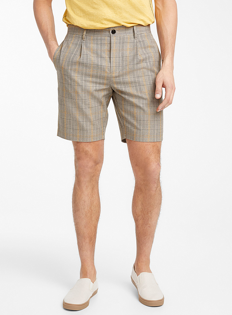 Le 31 Light Brown Plaid shorts for men