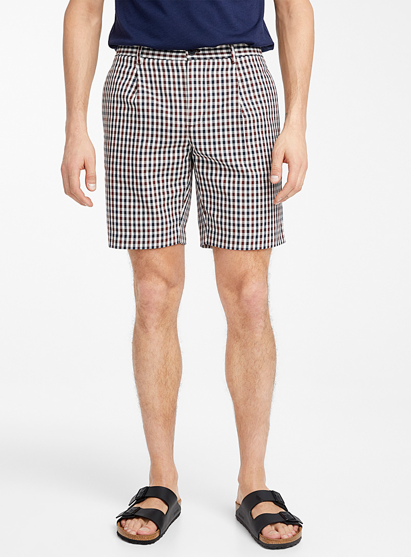 Le 31 Patterned Brown Plaid shorts for men