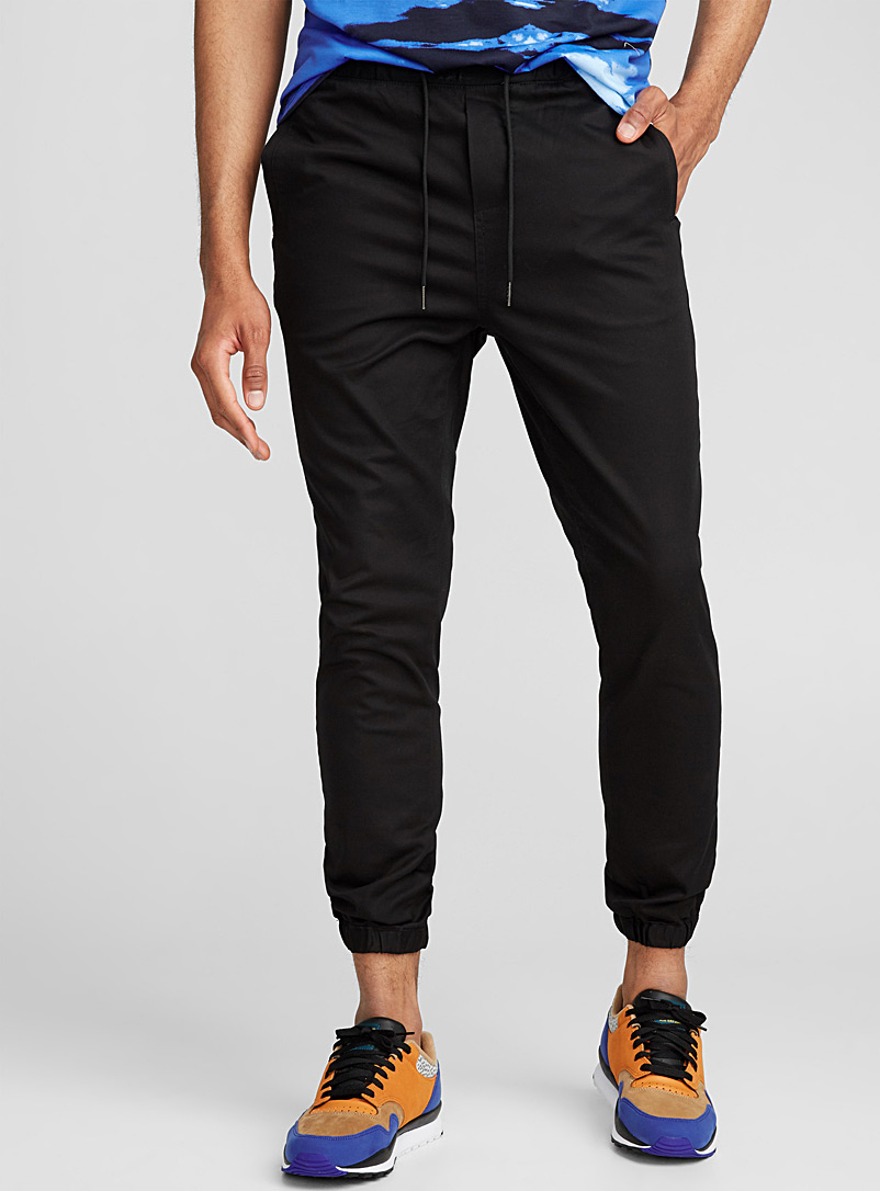 Stretch twill joggers - Joggers - Black