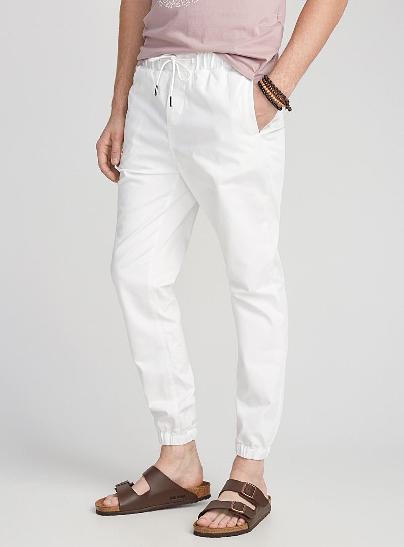 Stretch twill joggers - Joggers - White