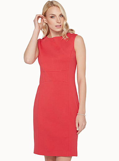 Engineered jersey sheath dress
