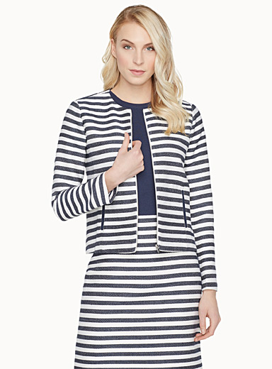 Indigo-striped round-neck jacket