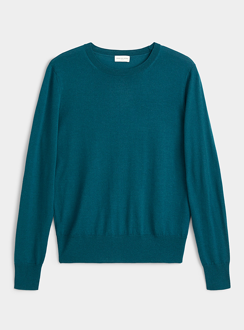 Dries Van Noten Teal Mirella crew neck wool sweater for women