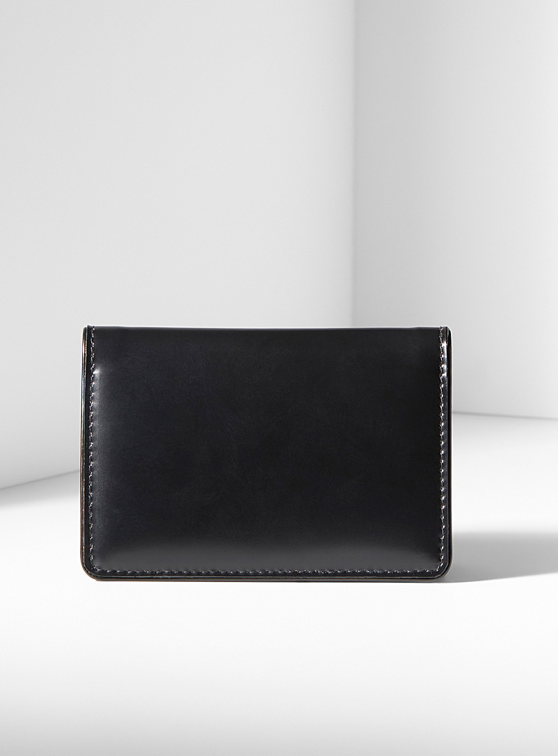 Dries Van Noten Black Lacquered leather card holder for men